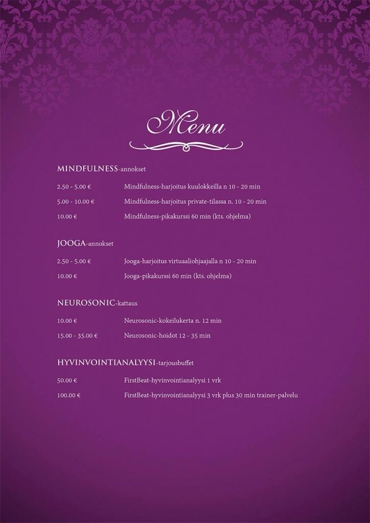 mielihyvää menu